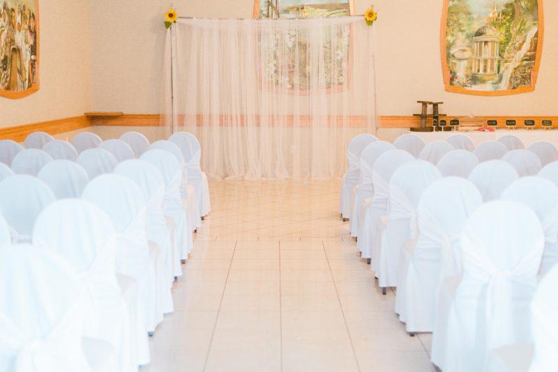 lasila ballroom ceremony setup at club belvedere