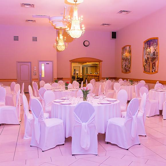 lasila ballroom with pink lighting